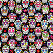 Day of the Dead Sugar Skull Seamless Vector Background — Stock Vector