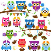 Vector Collection of Cute Football or Sports Themed Owls — Stock Vector