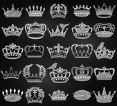 Vector Collection of Chalkboard Vintage Style Crown Silhouettes — Stock Vector