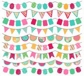 Collection of Bright and Colorful Wedding, Holiday, Birthday or Party Bunting — Vettoriale Stock