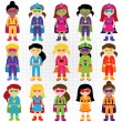Collection of Diverse Group of Superhero Girls, matching boy superheroes in portfolio — Stock Vector #70924297