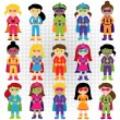 Collection of Diverse Group of Superhero Girls, matching boy superheroes in portfolio — Stock Vector #70924413
