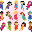 Collection of Diverse Group of Superhero Girls, matching boy superheroes in portfolio — Stock Vector #70924487