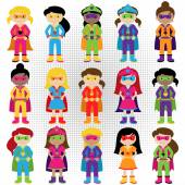 Collection of Diverse Group of Superhero Girls, matching boy superheroes in portfolio — Stock Vector