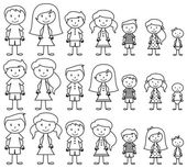 Set of Cute and Diverse Stick People in Vector Format — Stock Vector