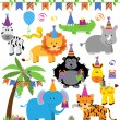 Vector Collection of Birthday Party Themed Jungle, Zoo or Safari Animals — Stock Vector #73799209