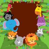 Safari, Jungle or Zoo Themed Animal Background — Stock Vector