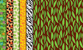 Seamless, Tileable Jungle or Zoo Animal Themed Background Patterns — Stock Vector