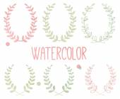 Vector Collection of Watercolor Style Laurels and Botanicals — Stock Vector