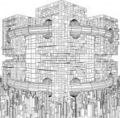 Futuristic Megalopolis City Structure Vector — Stock Vector
