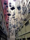Many Hanging Cage Between Buildings — Foto de Stock