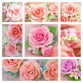 Beautiful roses, Romantic style: Collage of a polymer clay jewel — Stock Photo