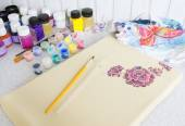 Batik process: artist paints on fabric, Batik painting — Stock Photo