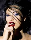 Fashion Beauty. Make-up. Beautiful Sexy Woman With Colorful Nail — Stock Photo