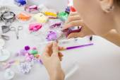 Artist makes jewelry from polymer clay, process. Workshop — Stock Photo