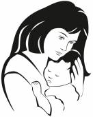Mother and baby symbol, hand drawn silhouette. Happy Mothers Day — Stock Vector