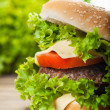 Cheeseburger with lettuce, onions and tomato in a sesame bun — Stock Photo #52350925