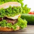 Cheeseburger with lettuce, onions and tomato in a sesame bun — Stock Photo #52765859