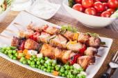 Grilled shashlik with vegetables — Stock Photo