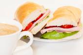 Panini sandwich with ham, cheese and tomato — Stock Photo