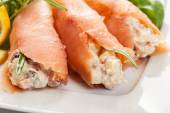 Smoked salmon roll with vegetable salad — Stock Photo