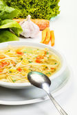 Broth - chicken soup with noodles — Stock Photo