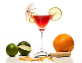 Manhattan cocktail garnished with a cherry — Stock Photo