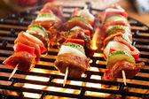 Grilling shashlik on barbecue grill — Stock fotografie