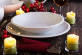 Christmas dishware on the table — Stock Photo