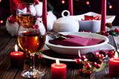 Christmas dishware on the table — Stock Photo