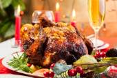 Baked chicken for Christmas dinner — Stock Photo