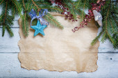 Christmas card with decoration on a wooden board — Foto Stock