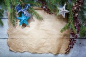 Christmas card with decoration on a wooden board — Stok fotoğraf