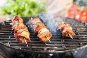 Grilling shashlik on barbecue grill — 图库照片