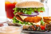 Chicken burger and glass of cola — Stok fotoğraf