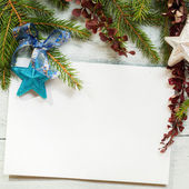Christmas card with decoration with copy space — Stok fotoğraf