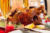 Baked chicken for Christmas dinner — Stock Photo