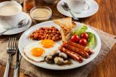 English breakfast with sausage — ストック写真