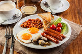 English breakfast with sausage — 图库照片