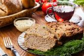 Traditional delicious meat pate with vegetables — Stock Photo