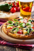 Pizza hawaii with beer — Stock Photo
