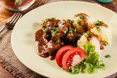 Goulash with boiled potatoes — Stockfoto