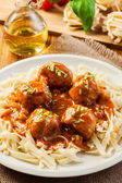 Pasta fettuccine and meatballs with tomato sauce — Stock Photo