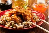 Fried chicken with rice and sweet and sour sauce — Foto de Stock