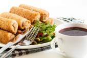 Croquettes with meat and beetroot soup — Stockfoto
