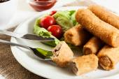 Croquettes with meat and beetroot soup — Stock Photo