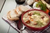 Кислый суп из ржаной муки — Стоковое фото