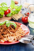 Spaghetti bolognese with cheese and basil — Stock Photo