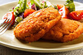 Cutlet Cordon Bleu with salad — Stock Photo