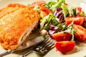 Cutlet Cordon Bleu with salad — Stock Photo